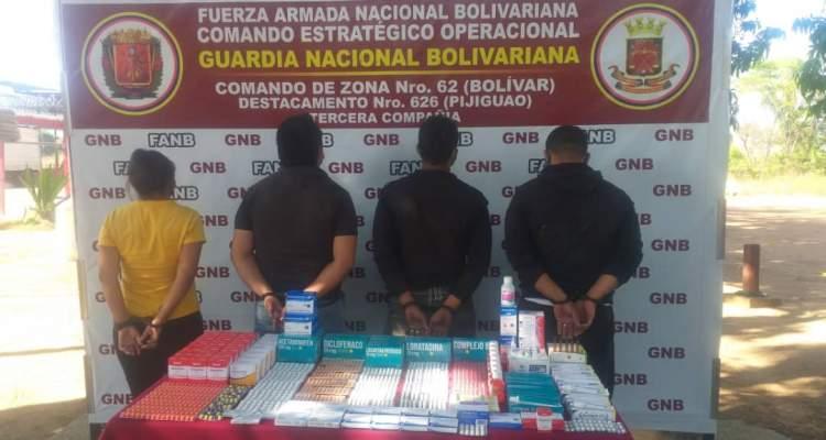 GNB aprehendió a 4 personas por contrabando de medicinas en el estado Bolívar