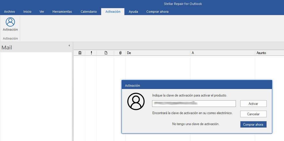 Activacion del software con la clave de licencia